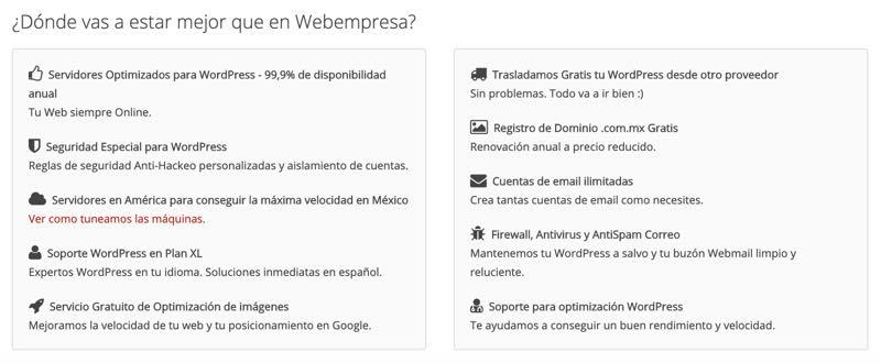 Qué ofrece Webempresa