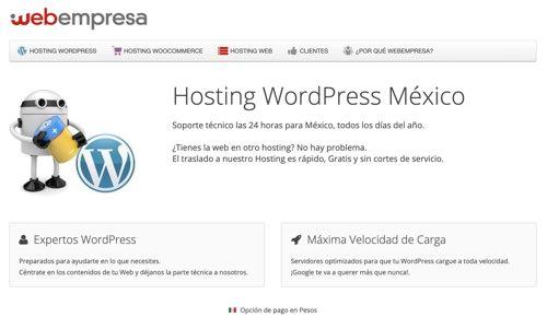 Hosting Webempresa para Mexico